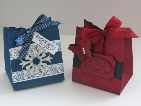 Fancy Favour die box, snow flurry bigz die, midnight muse, cherry cobbler, linked lace builder stampin up wheel, snowflake party stampin up wheel, etruscan elegance stampin up wheel